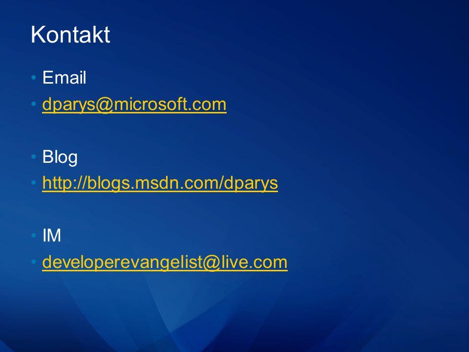 Kontakt Email dparys@microsoft.com Blog http://blogs.msdn.com/dparys