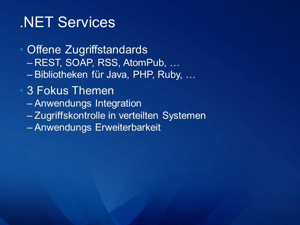 .NET Services Offene Zugriffstandards 3 Fokus Themen