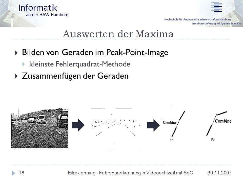 Auswerten der Maxima Bilden von Geraden im Peak-Point-Image