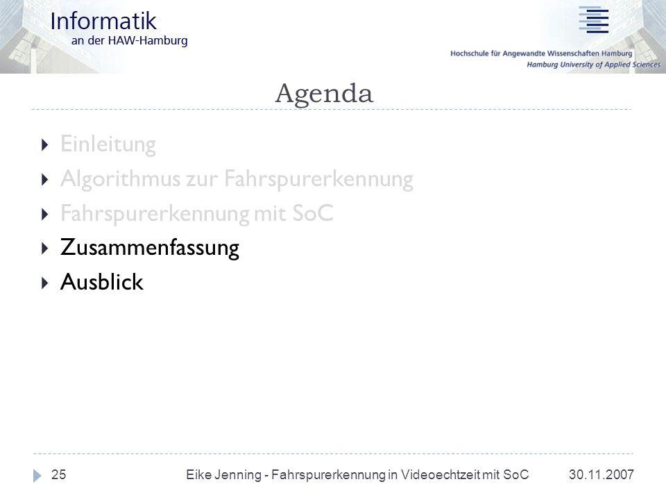Agenda Einleitung Algorithmus zur Fahrspurerkennung