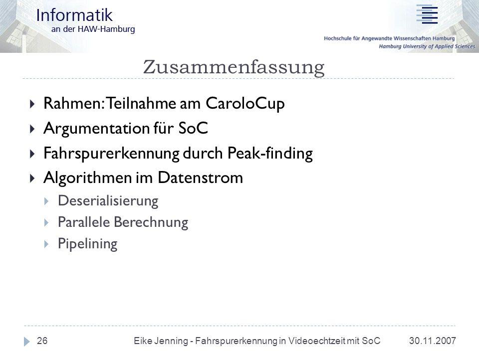 Zusammenfassung Rahmen: Teilnahme am CaroloCup Argumentation für SoC