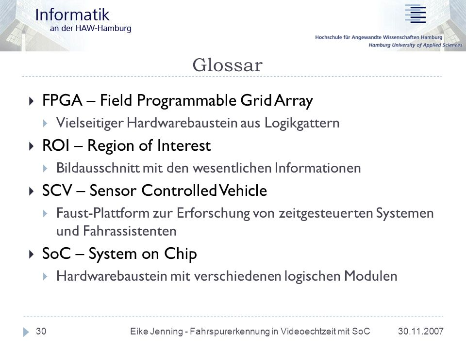 Glossar FPGA – Field Programmable Grid Array ROI – Region of Interest