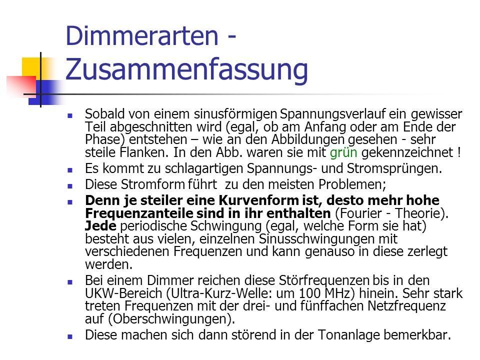 Dimmerarten - Zusammenfassung