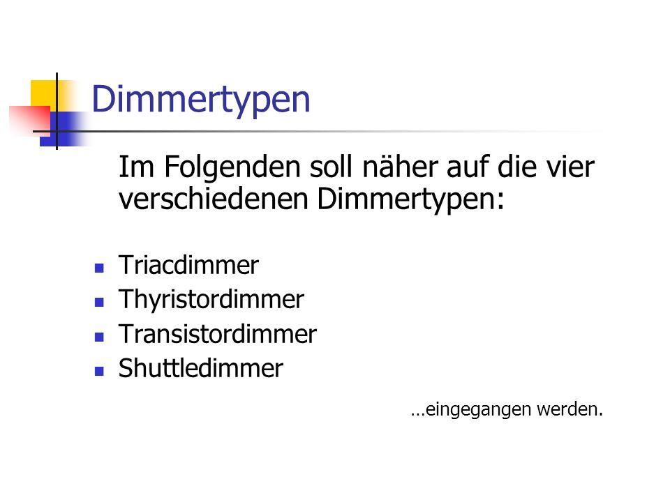 Dimmertypen Im Folgenden soll näher auf die vier verschiedenen Dimmertypen: Triacdimmer. Thyristordimmer.