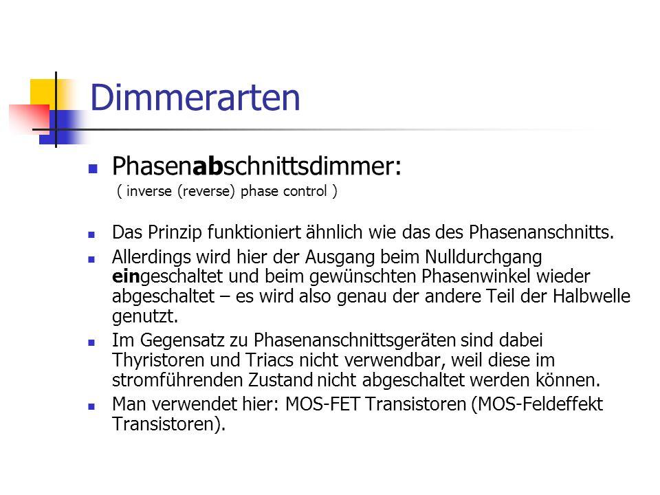 Dimmerarten Phasenabschnittsdimmer: