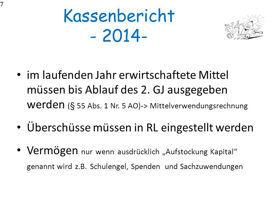 7 Kassenbericht - 2014-