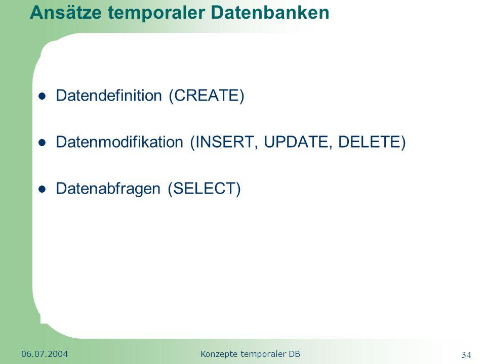 Ansätze temporaler Datenbanken