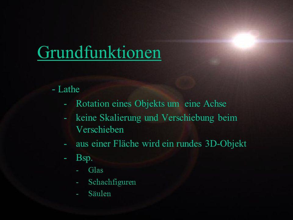 Grundfunktionen - Lathe - Rotation eines Objekts um eine Achse