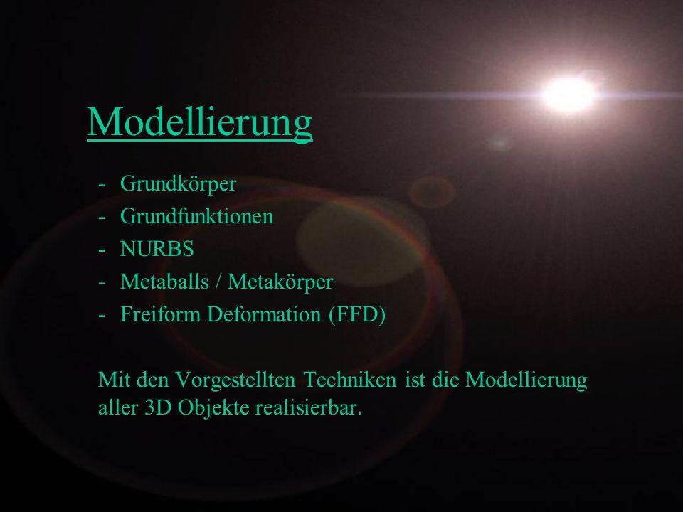 Modellierung Grundkörper Grundfunktionen NURBS Metaballs / Metakörper