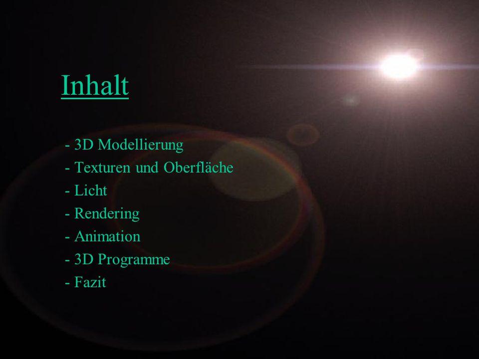 Inhalt - 3D Modellierung Texturen und Oberfläche Licht Rendering