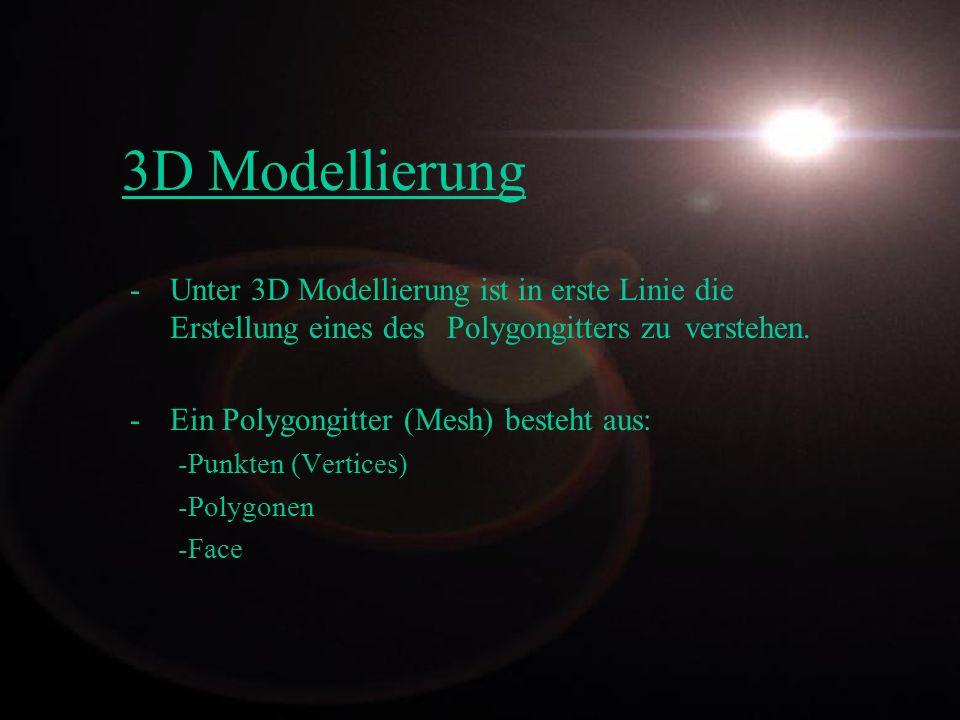 3D Modellierung Unter 3D Modellierung ist in erste Linie die Erstellung eines des Polygongitters zu verstehen.