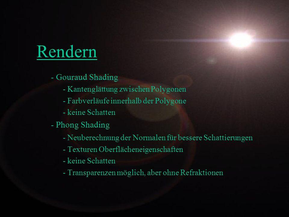 Rendern - Gouraud Shading - Phong Shading