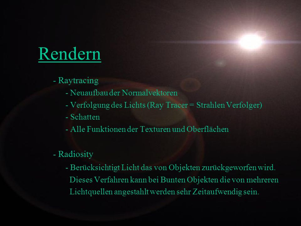 Rendern - Raytracing - Radiosity