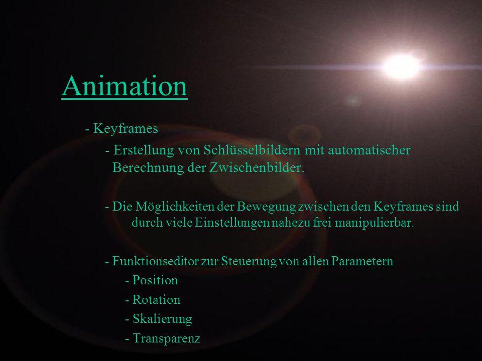 Animation - Keyframes. - Erstellung von Schlüsselbildern mit automatischer Berechnung der Zwischenbilder.