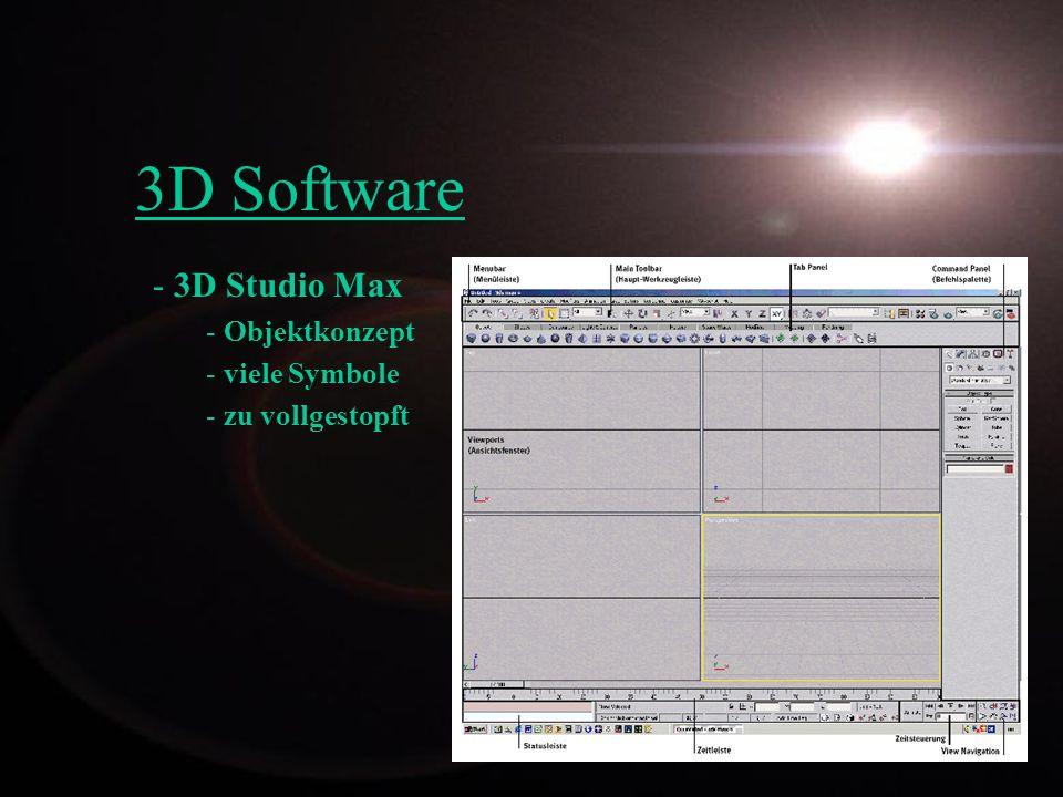 3D Studio Max Objektkonzept viele Symbole zu vollgestopft