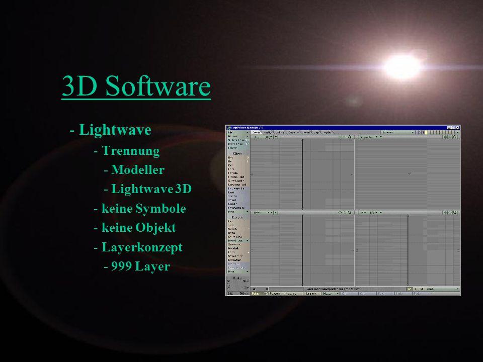 3D Software Lightwave Trennung - Modeller - Lightwave 3D keine Symbole