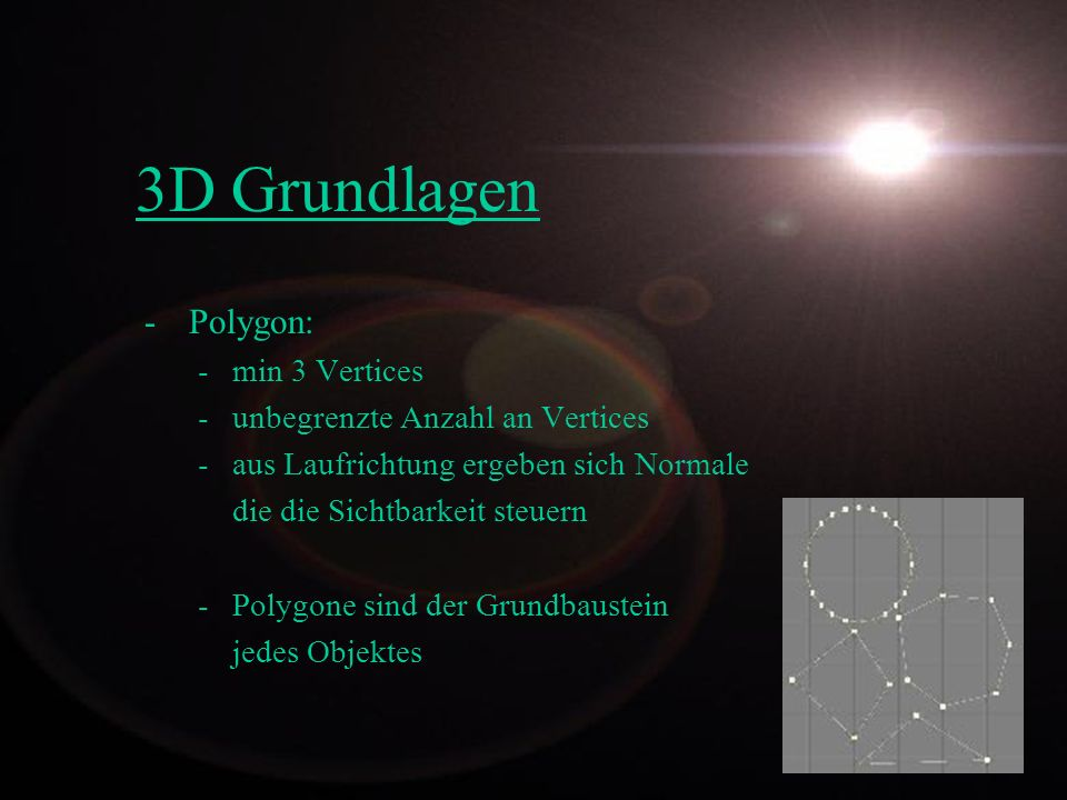 3D Grundlagen Polygon: min 3 Vertices unbegrenzte Anzahl an Vertices