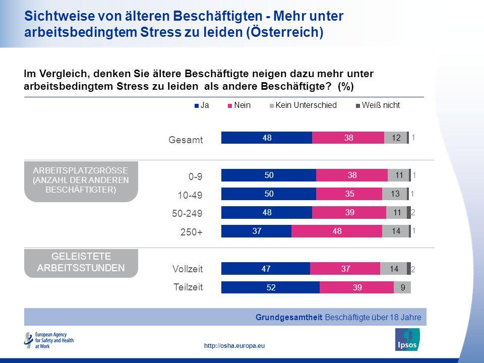 Sichtweise von älteren Beschäftigten - Mehr unter arbeitsbedingtem Stress zu leiden (Österreich)