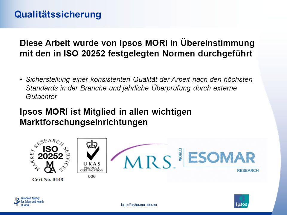 Qualitätssicherung Diese Arbeit wurde von Ipsos MORI in Übereinstimmung mit den in ISO 20252 festgelegten Normen durchgeführt.
