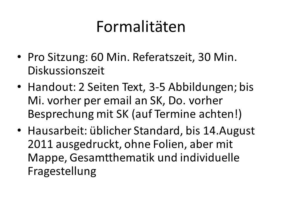 FormalitätenPro Sitzung: 60 Min. Referatszeit, 30 Min. Diskussionszeit.