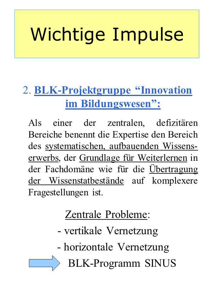 Wichtige Impulse 2. BLK-Projektgruppe Innovation im Bildungswesen :