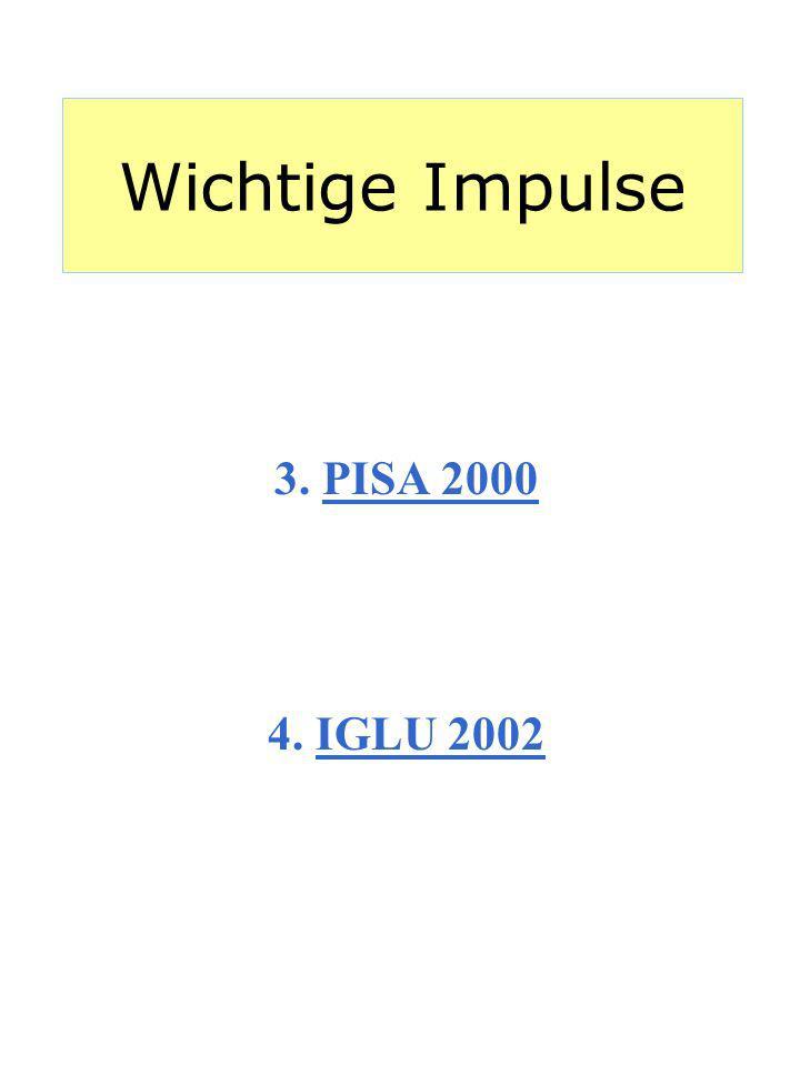 Wichtige Impulse 3. PISA 2000 4. IGLU 2002