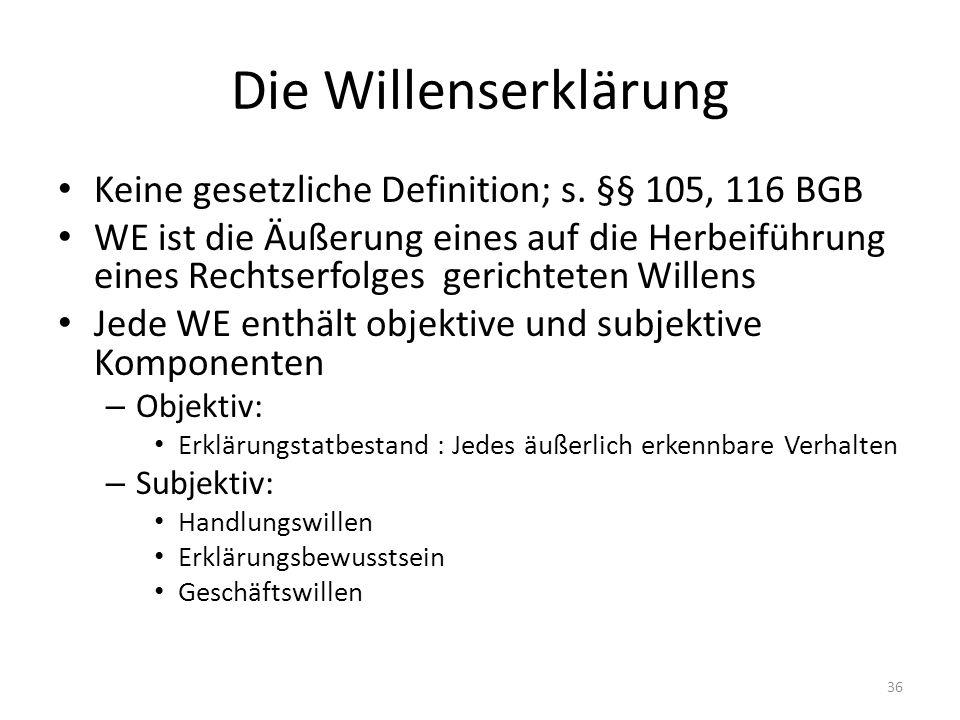 Die Willenserklärung Keine gesetzliche Definition; s. §§ 105, 116 BGB