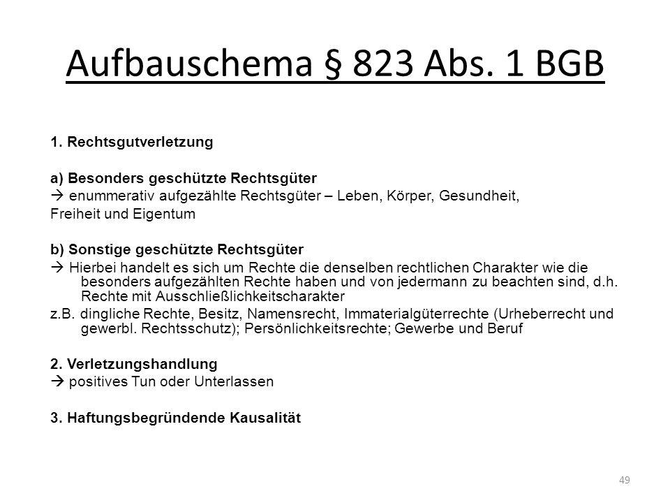 Aufbauschema § 823 Abs. 1 BGB 1. Rechtsgutverletzung