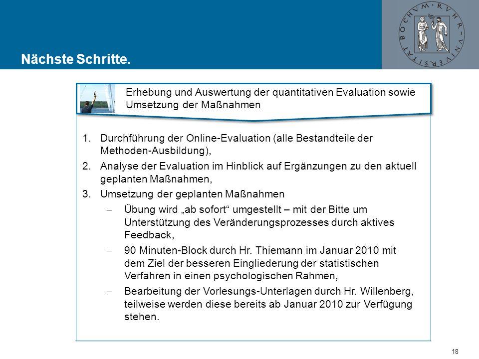 Nächste Schritte. Erhebung und Auswertung der quantitativen Evaluation sowie Umsetzung der Maßnahmen.