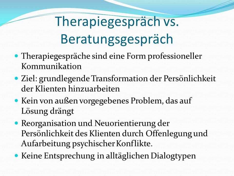 Therapiegespräch vs. Beratungsgespräch