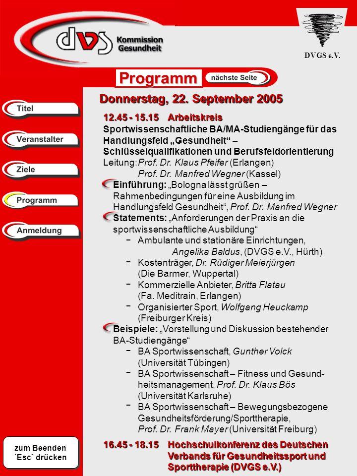 Programm Donnerstag, 22. September 2005 12.45 - 15.15 Arbeitskreis