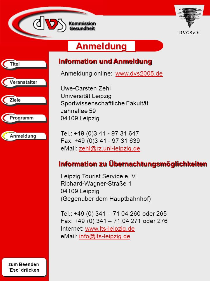 Anmeldung Information und Anmeldung