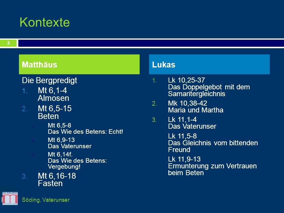 Kontexte Matthäus Lukas Die Bergpredigt Mt 6,1-4 Almosen