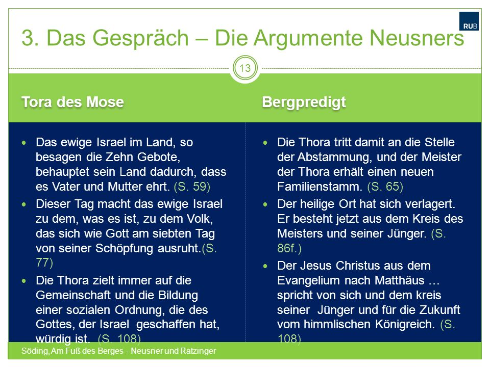 3. Das Gespräch – Die Argumente Neusners