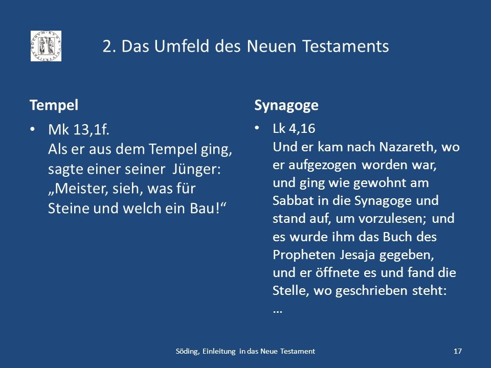 2. Das Umfeld des Neuen Testaments