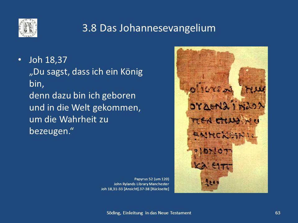 3.8 Das Johannesevangelium