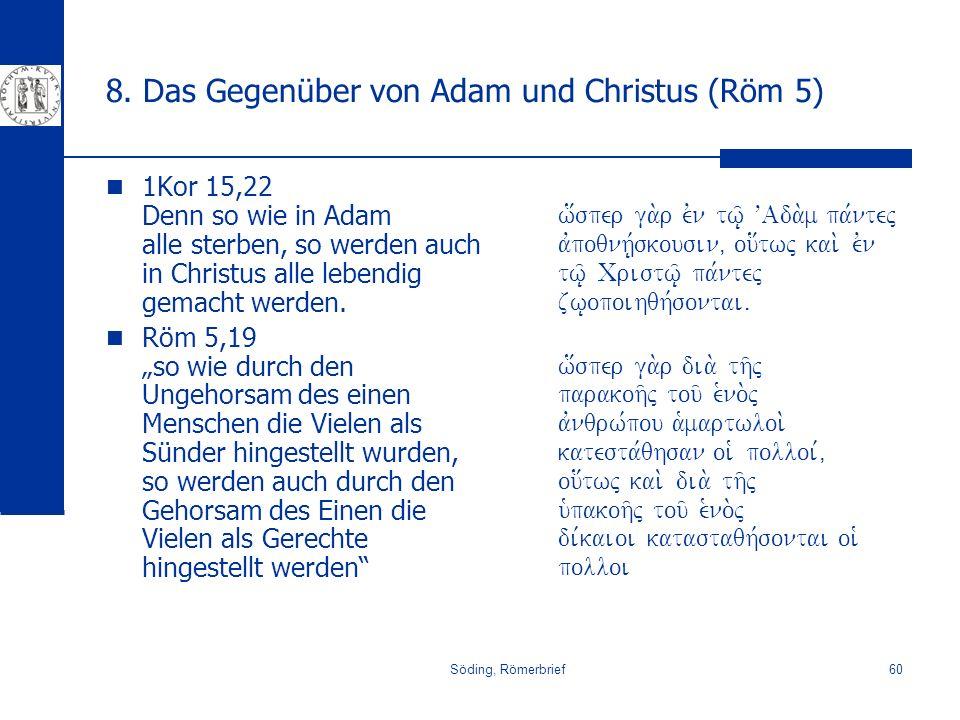 8. Das Gegenüber von Adam und Christus (Röm 5)