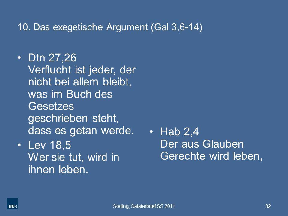 10. Das exegetische Argument (Gal 3,6-14)
