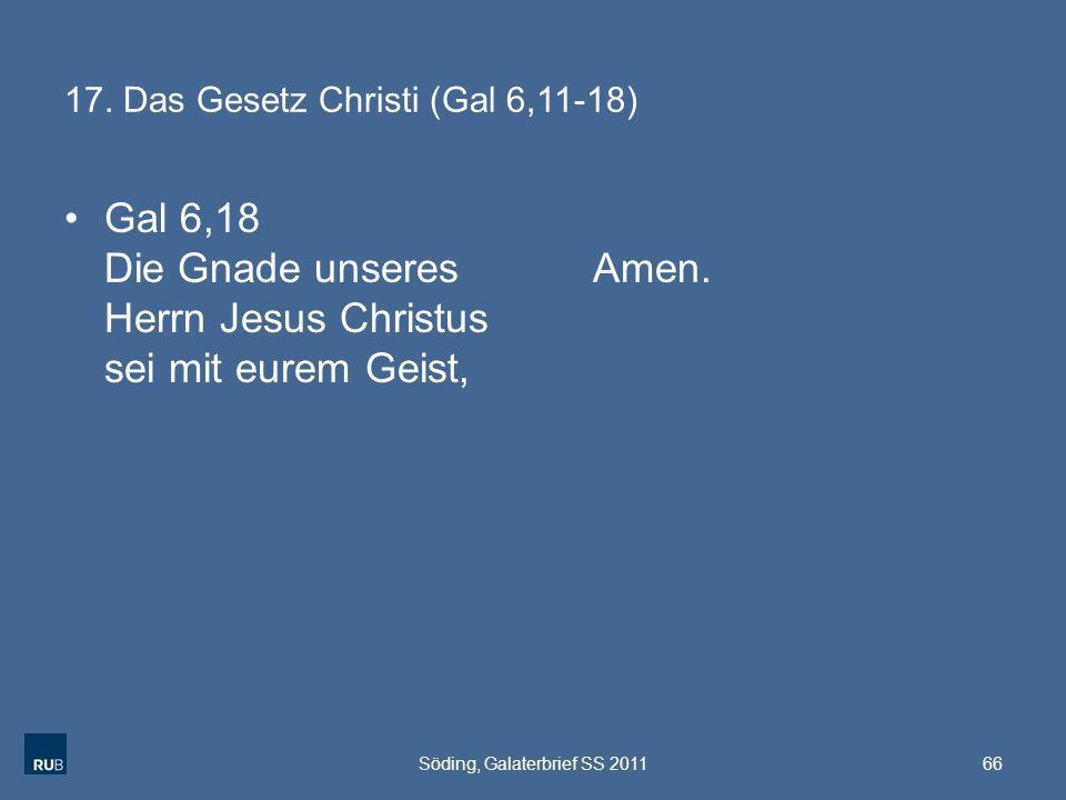 17. Das Gesetz Christi (Gal 6,11-18)