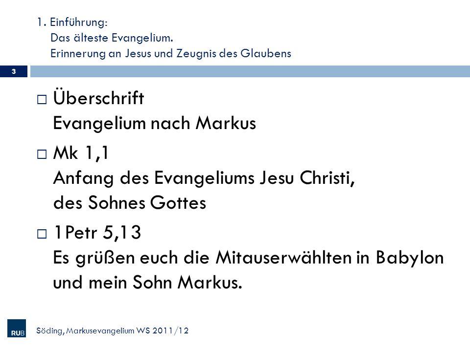 Überschrift Evangelium nach Markus