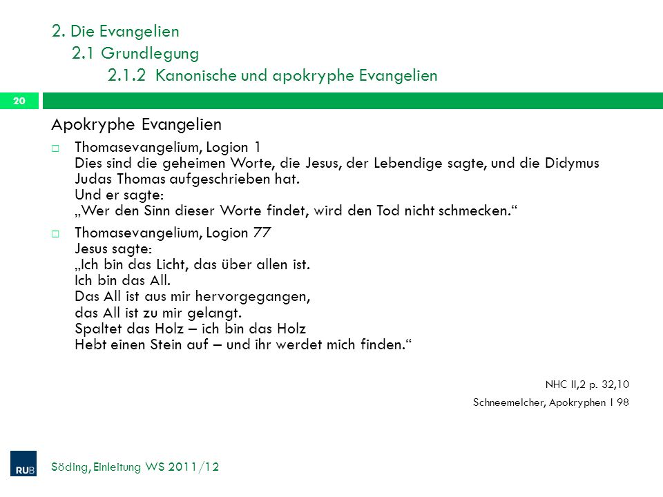 2. Die Evangelien 2. 1 Grundlegung 2. 1