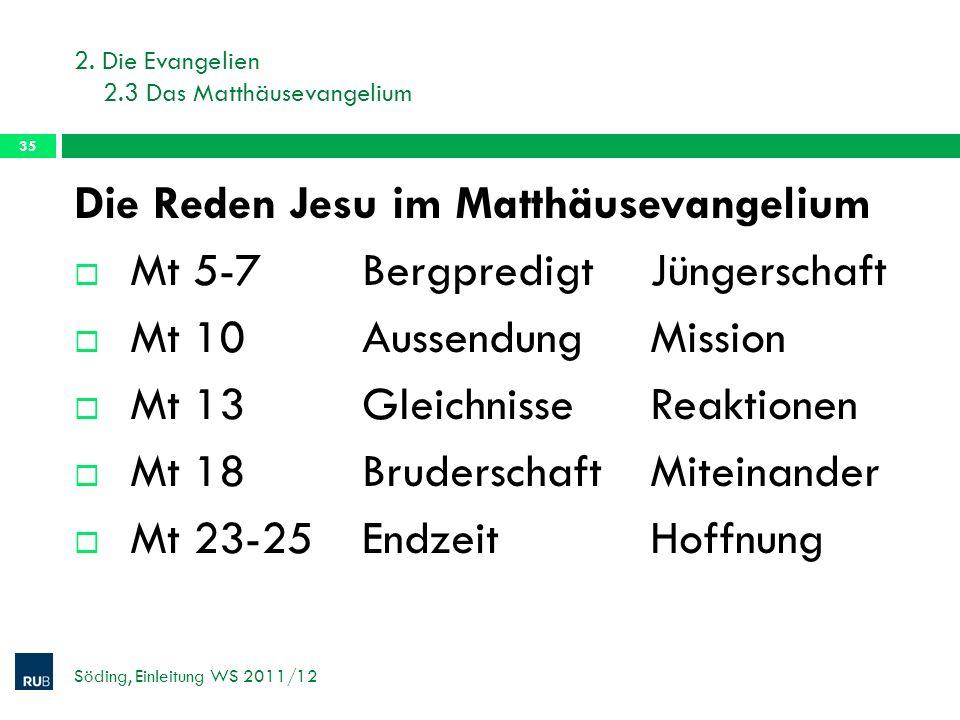 2. Die Evangelien 2.3 Das Matthäusevangelium