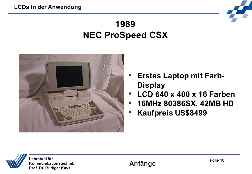 1989 NEC ProSpeed CSX Erstes Laptop mit Farb-Display
