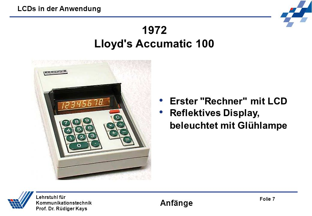 1972 Lloyd s Accumatic 100 Erster Rechner mit LCD