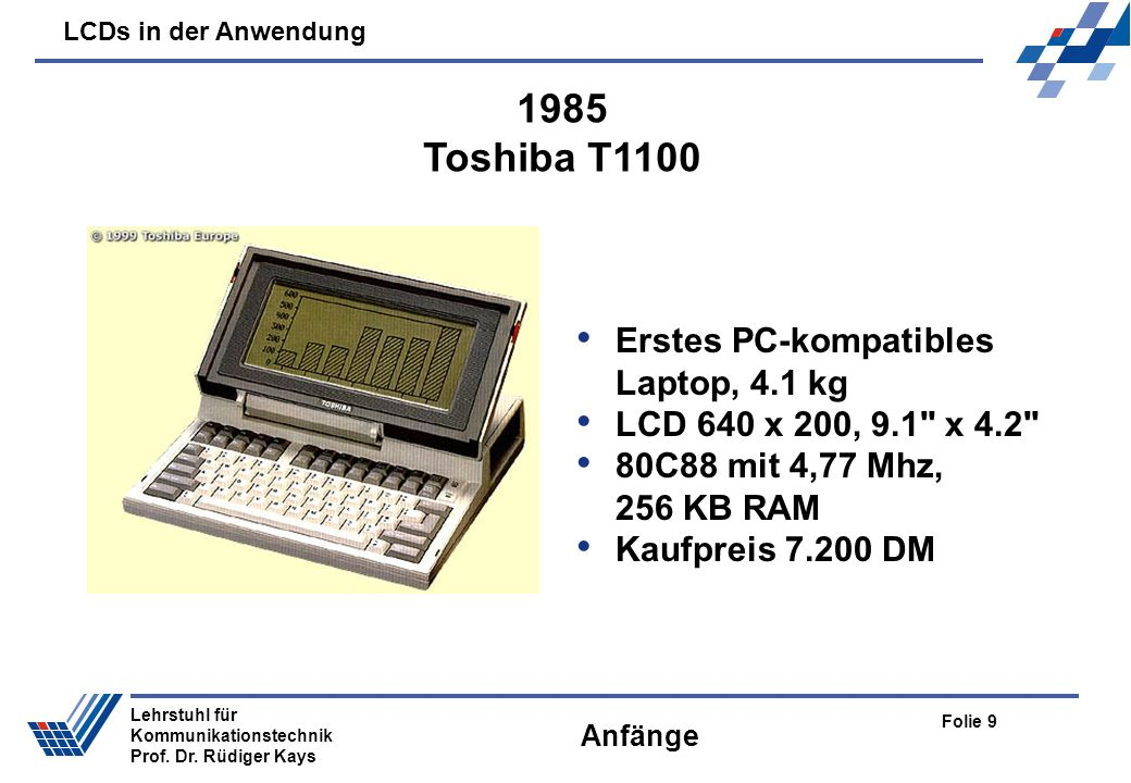 1985 Toshiba T1100 Erstes PC-kompatibles Laptop, 4.1 kg