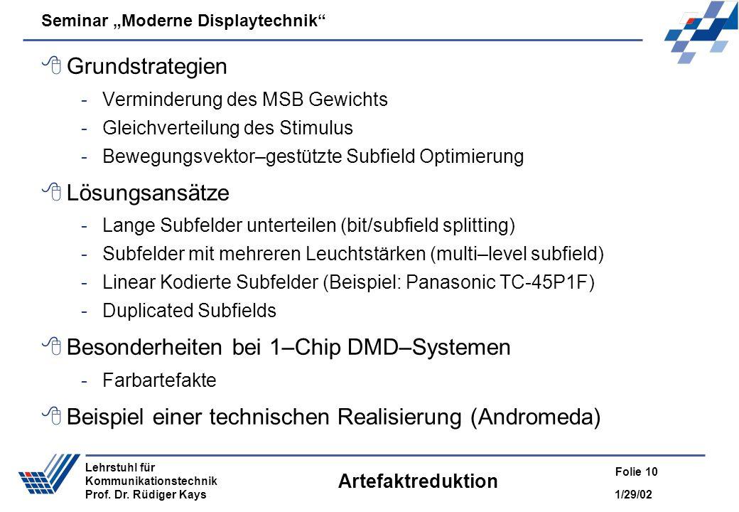 Besonderheiten bei 1–Chip DMD–Systemen