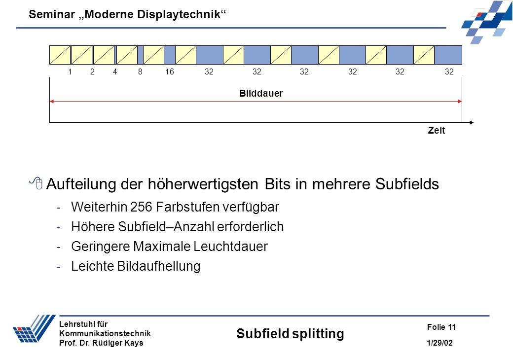 Aufteilung der höherwertigsten Bits in mehrere Subfields