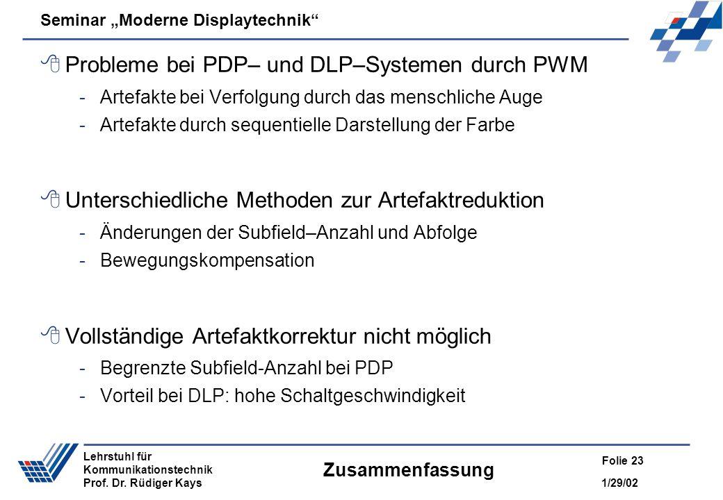 Probleme bei PDP– und DLP–Systemen durch PWM