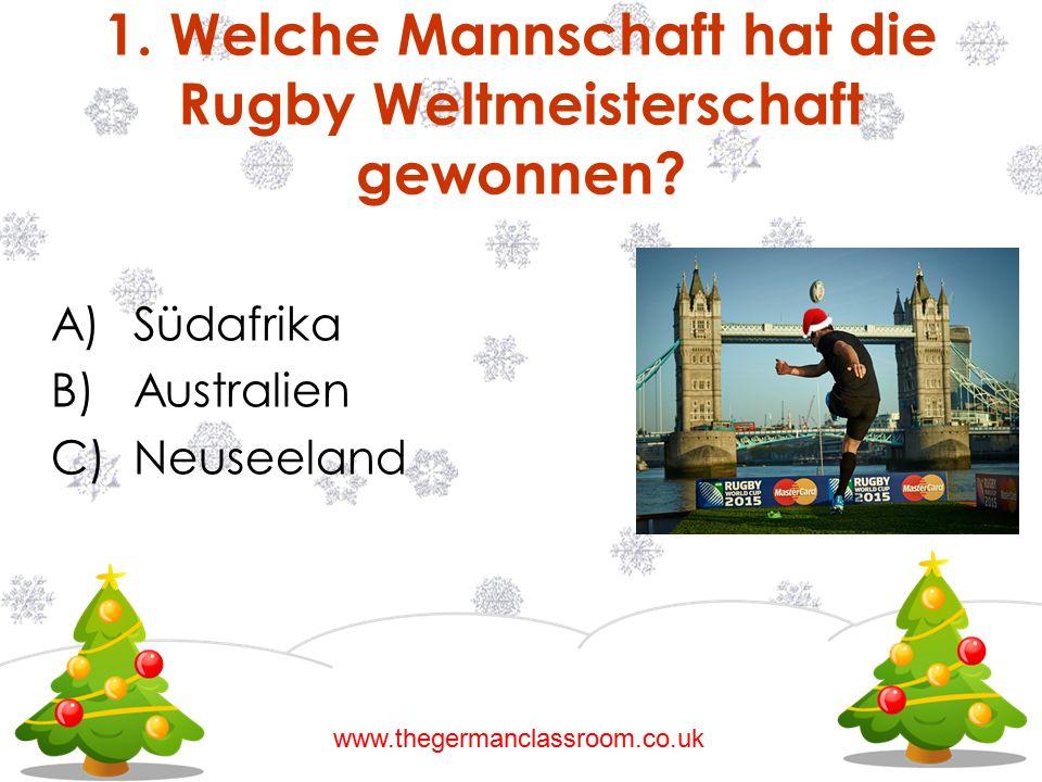 1. Welche Mannschaft hat die Rugby Weltmeisterschaft gewonnen