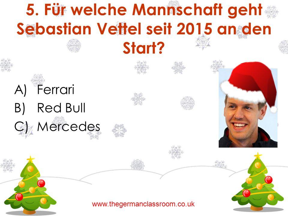5. Für welche Mannschaft geht Sebastian Vettel seit 2015 an den Start